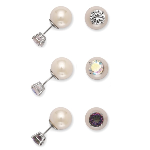 La Preciosa Sterling Freshwater Pearl and Cubic Zirconia Reversible Stud Earrings