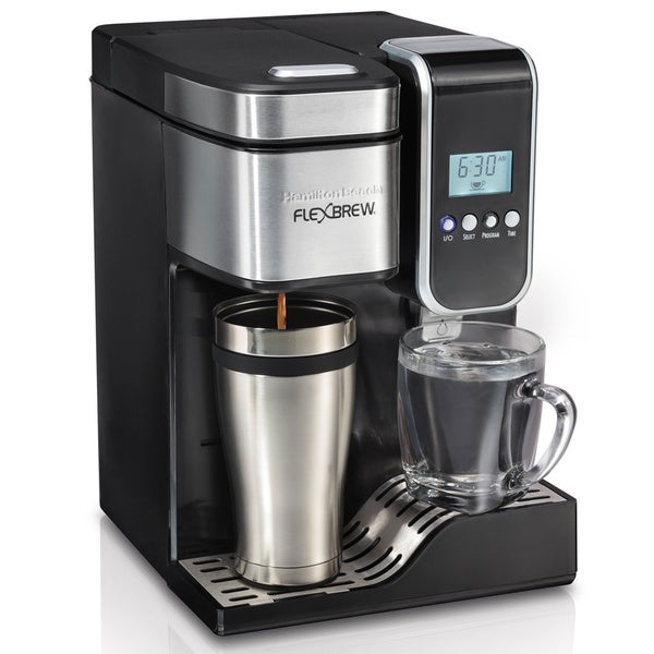 Hamilton Beach Black Programmable Single-Serve Coffee Maker with Hot Water Dispenser
