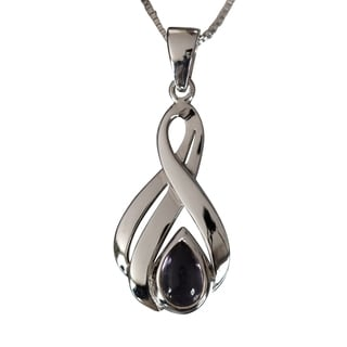 Sterling Silver Amethyst Pear Drop Necklace (Thailand)