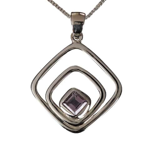 Handmade Sterling Silver Princess-cut Amethyst Necklace (Thailand)