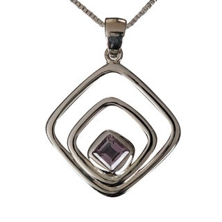 Sterling Silver Princess-cut Amethyst Necklace (Thailand)
