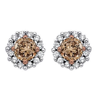10k White Gold 1/2ct TDW Brown and White Diamond Halo Earrings|https://ak1.ostkcdn.com/images/products/9957044/P17110286.jpg?impolicy=medium