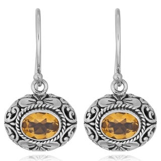 Sterling Silver Citrine 'Floral Art' Dangle Earrings (Indonesia)