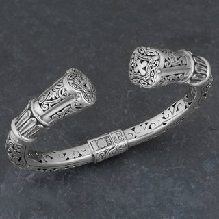 Sterling Silver 'Glorious Faith' Cawi Cuff Bracelet (Indonesia)
