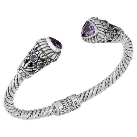Handmade Silver Amethyst 'Trillion Touch' Cuff Bracelet (Bali)