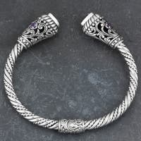 Sterling Silver Amethyst 'Trillion Touch' Cuff Bracelet (Indonesia)