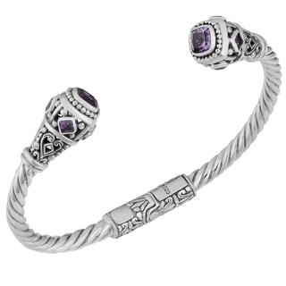 Sterling Silver Amethyst 'Princess' Cuff Bracelet (Indonesia)