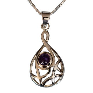 Sterling Silver Round Amethyst Temporary Design Necklace (Thailand)
