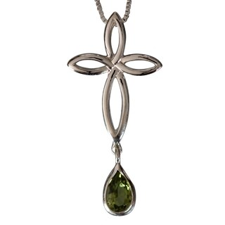 Sterling Silver Peridot Pear-drop Celtic Cross Necklace (Thailand)