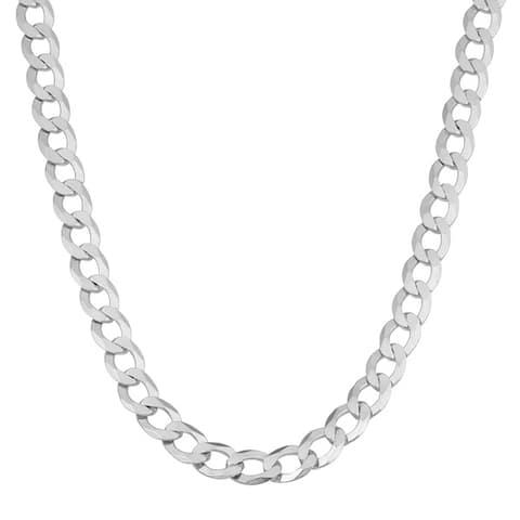 Fremada Sterling Silver 5.4mm High Polish Flat Curb Chain Necklace