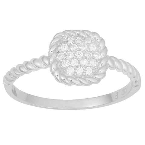 Fremada Rhodium-plated Sterling Silver Cubic Zirconia Ribbed Square Ring