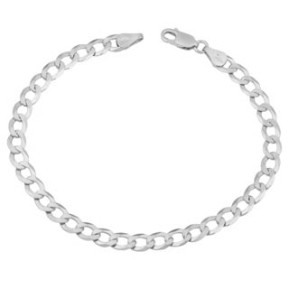 Fremada Sterling Silver 5.4mm High Polish Solid Flat Curb Link Bracelet