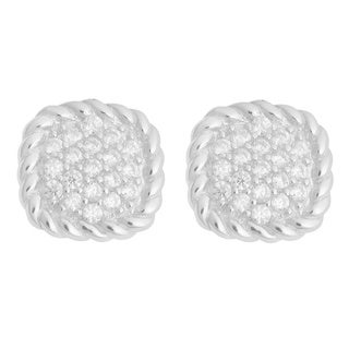 Link to Fremada Rhodium-plated Sterling Silver with Cubic Zirconia Ribbed Square Earrings Similar Items in Earrings