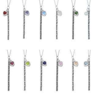 Link to Fremada Rhodium-plated Sterling Silver 'Love You to the Moon and Back' Birthstone Necklace Similar Items in Birthstone Jewelry