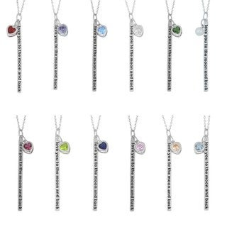 Fremada Rhodium-plated Sterling Silver 'Love You to the Moon and Back' Birthstone Necklace (More options available)