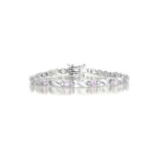 Collette Z Sterling Silver Pink and White Cubic Zirconia 'X' Design Bracelet