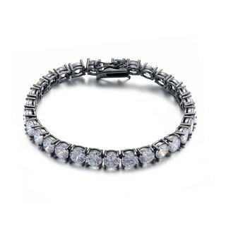 Collette Z Black-plated Sterling Silver Cubic Zirconia Tennis Bracelet