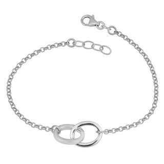 Link to Argento Italia Rhodium-plated Sterling Silver High Polish Double Oval Adjustable Bracelet Similar Items in Bracelets