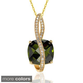 Suzy Levian Sterling Silver 18k Gold Multi-colored Cubic Zirconia Necklace