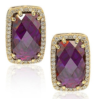 Suzy Levian Sterling Silver Purple Cubic Zirconia Stud Earrings