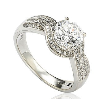 Suzy Levian Sterling Silver Cubic Zirconia Wedding-style Fashion Ring