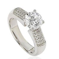 Suzy Levian Sterling Silver Cubic Zirconia Engagement Ring