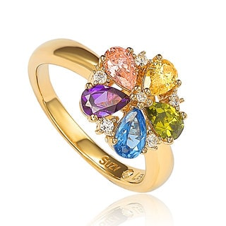 Suzy Levian Goldplated Sterling Silver Multi-colored Cubic Zirconia Floral Ring