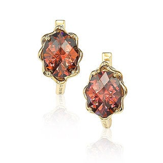 Suzy Levian Sterling Silver 18k Gold Dark Pink Cubic Zirconia Stud Earrings