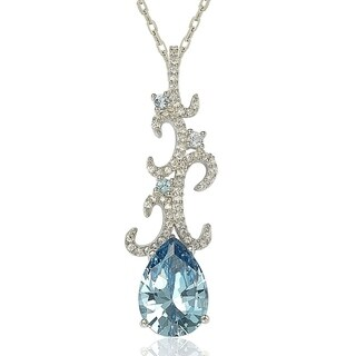 Suzy Levian Sterling Silver Pear-cut Cubic Zirconia Necklace