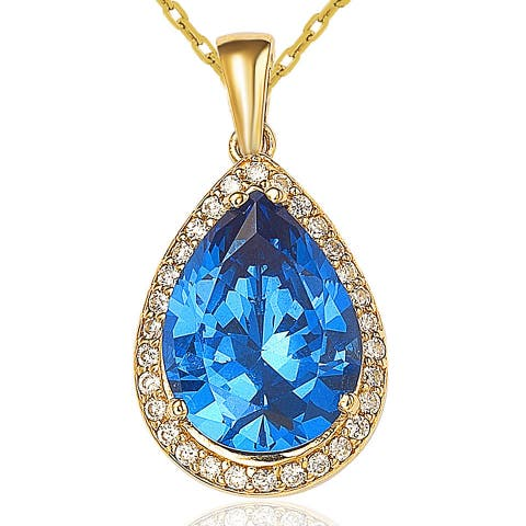 Suzy L. Sterling Silver 18k Gold Cubic Zirconia Necklace