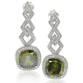 Suzy Levian 18k Gold Sterling Silver Cubic Zirconia Dangle Earrings