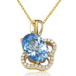 Suzy Levian 18k Gold Sterling Silver Blue Cubic Zirconia Necklace