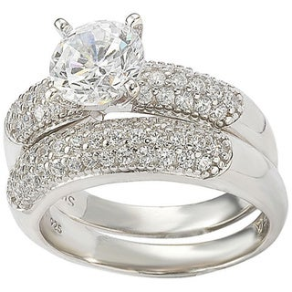 Suzy Levian Bridal Sterling Silver Cubic Zirconia Engagement Ring and Band Set (8.5)