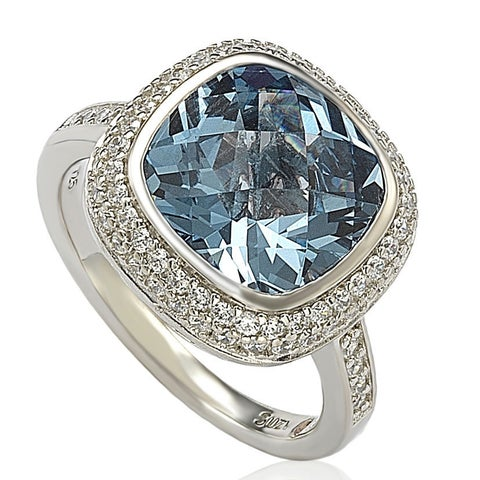 Suzy Levian Sterling Silver Blue Cubic Zirconia Ring