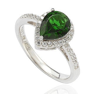 Suzy Levian Sterling Silver Green Cubic Zirconia Pear Halo Ring