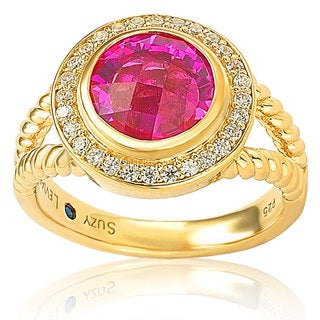 Suzy Levian Goldplated Sterling Silver Created Pink Sapphire Cubic Zirconia Rope Ring