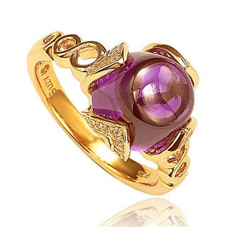 Suzy Levian Goldplated Sterling Silver Purple Cabachon Cubic Zirconia Ring