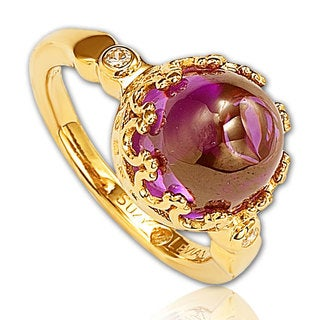 Suzy Levian Goldplated Sterling Silver Purple Cubic Zirconia Cocktail Ring