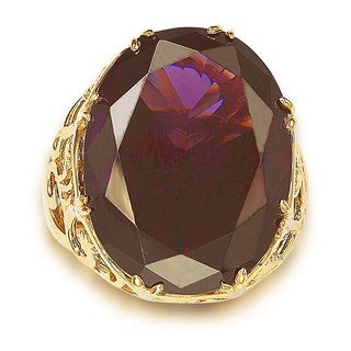 Suzy Levian Goldplated Sterling Silver Purple Cubic Zirconia Floral Ring