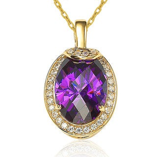 Suzy Levian Sterling Silver 18k Gold Purple Cubic Zirconia Necklace
