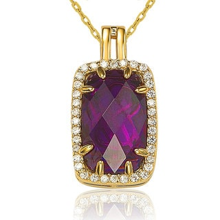 Suzy Levian Sterling Silver Purple Cubic Zirconia Necklace