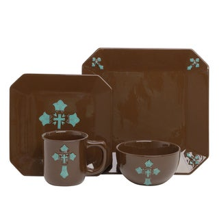 HiEnd Accents Turquoise Cross 16-piece Dinnerware Set