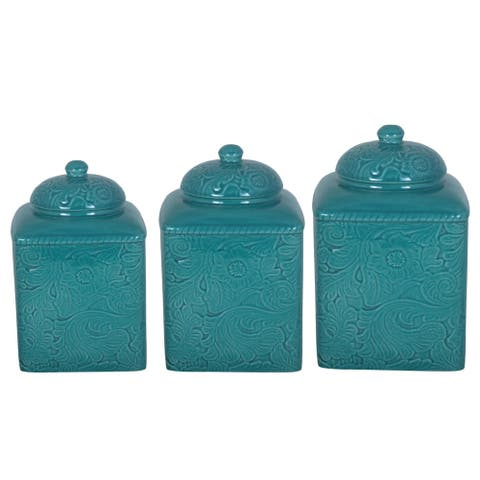 HiEnd Accents Savannah Turquoise Canister 3-piece Set