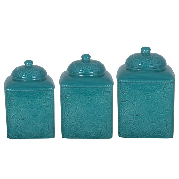 teal kitchen canisters shop hiend accents turquoise canister 3 set 15112