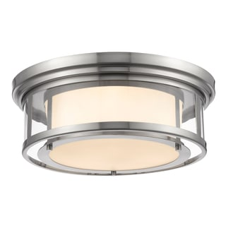 Z-Lite Luna 3-light Brushed Nickel with Matte Opal Glass Shade Flush Mount