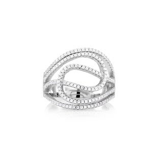 Sterling Silver Micropave Cubic Zirconia Fancy Endless Ring