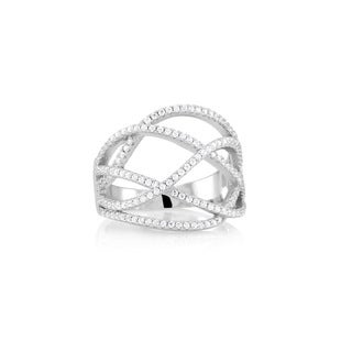 Sterling Silver Micropave Cubic Zirconia Endless Cross Ring