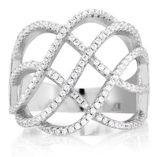 Sterling Silver Cubic Zirconia Criss-cross Micro Pave Ring