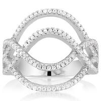 Sterling Silver Cubic Zirconia Criss-cross Wave Micro Pave Ring