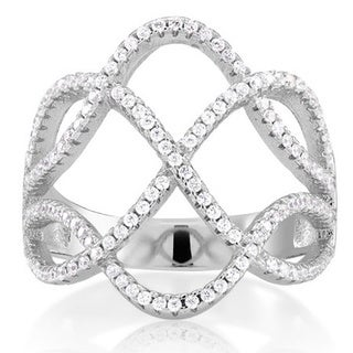 Sterling Silver Cubic Zirconia Square Wave Micro Pave Ring